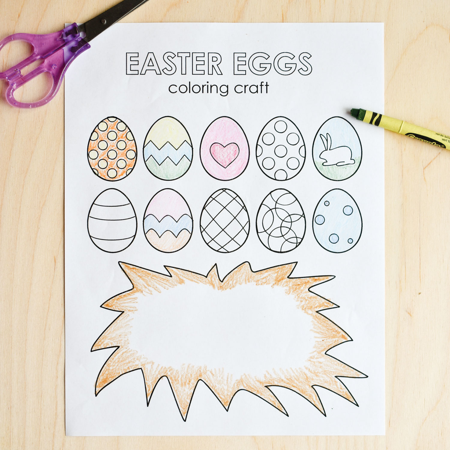 coloring egg designs, bunny craft