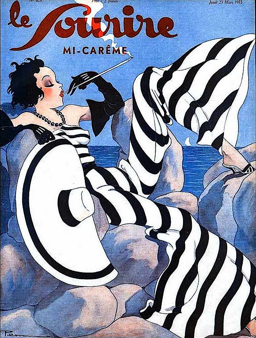 1933 French fashion magazine cover illustration of a striped sensual modern woman