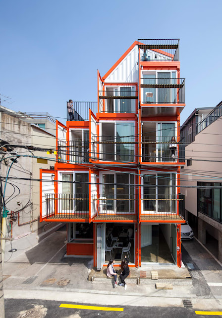 Shipping Container 4 Story House - Office, Cafe and Hotel in Seoul, South Korea 2