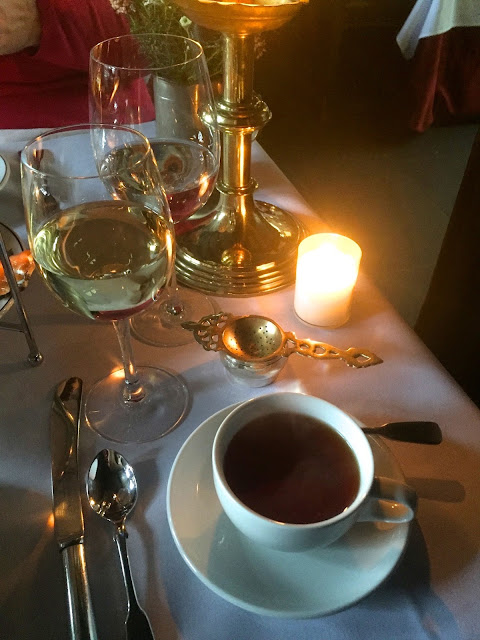 Drinks with afternoon tea in The Witchery by the Castle, Edinburgh