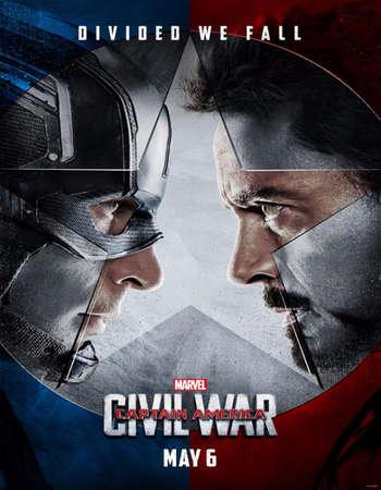 Poster Of Captain America Civil War 2016 Dual Audio 900MB HDCAM [Hindi - English] Free Download Watch Online Worldfree4u