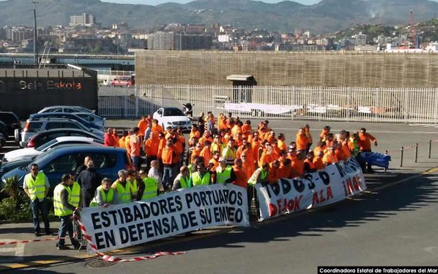 Protesta de estibadores en el puerto de Bilbao