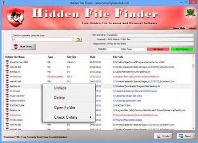 برنامج اظهار الملفات المخفية - Hidden File Finder