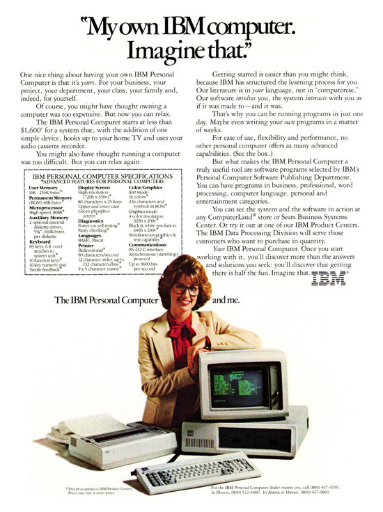 IBM 5150 PC advertising (woman)