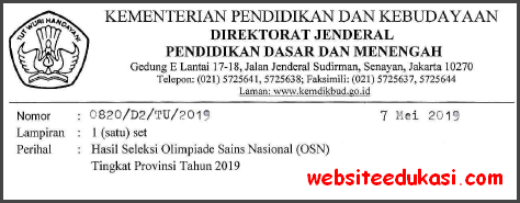 Daftar Peserta OSN SD/MI Tingkat Nasional Tahun 2019