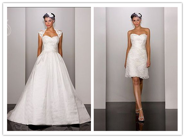 taffeta and lace sweetheart neckline lace cap sleeves and bust ball gown style with skirt convertible to short 2 in 1 wedding dress ww 00019