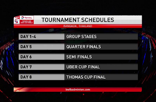 Schedule Uber and Thomas Cup Biss Key 24 May 2018