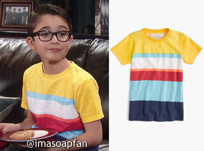 Spencer Cassadine, Nicolas Bechtel, Yellow, Blue and Red Mixed Striped Tee, J. Crew, General Hospital, GH