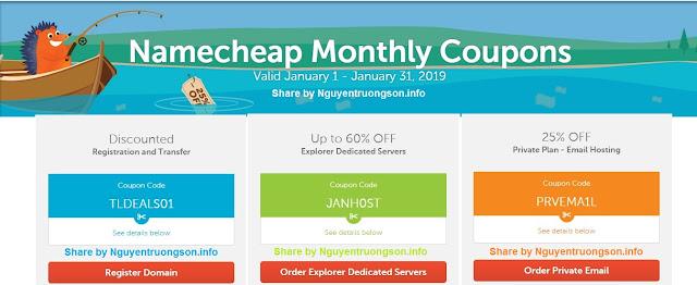 Namecheap Coupon Code, Mã giảm giá Namecheap tháng 1/2019 mới nhất