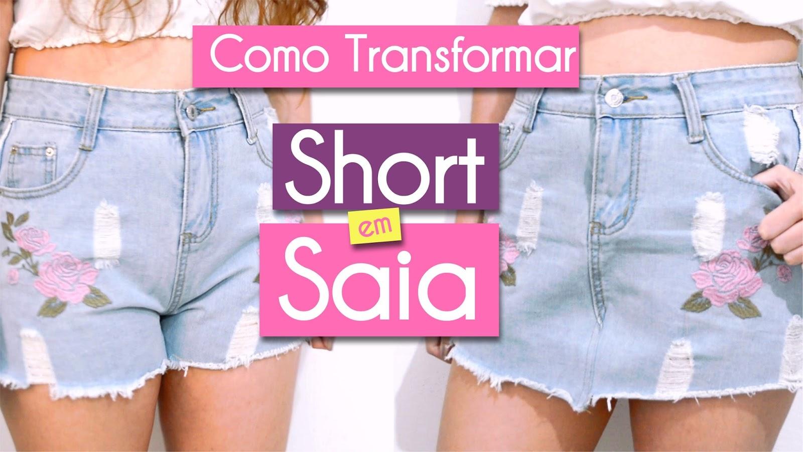 Como transformar short jeans em saia  - Fácil e rápido!