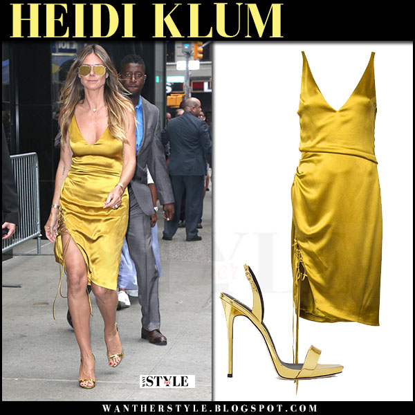 Heidi Klum in yellow metallic gold dress galvan what she wore july 6 2017 good morning america