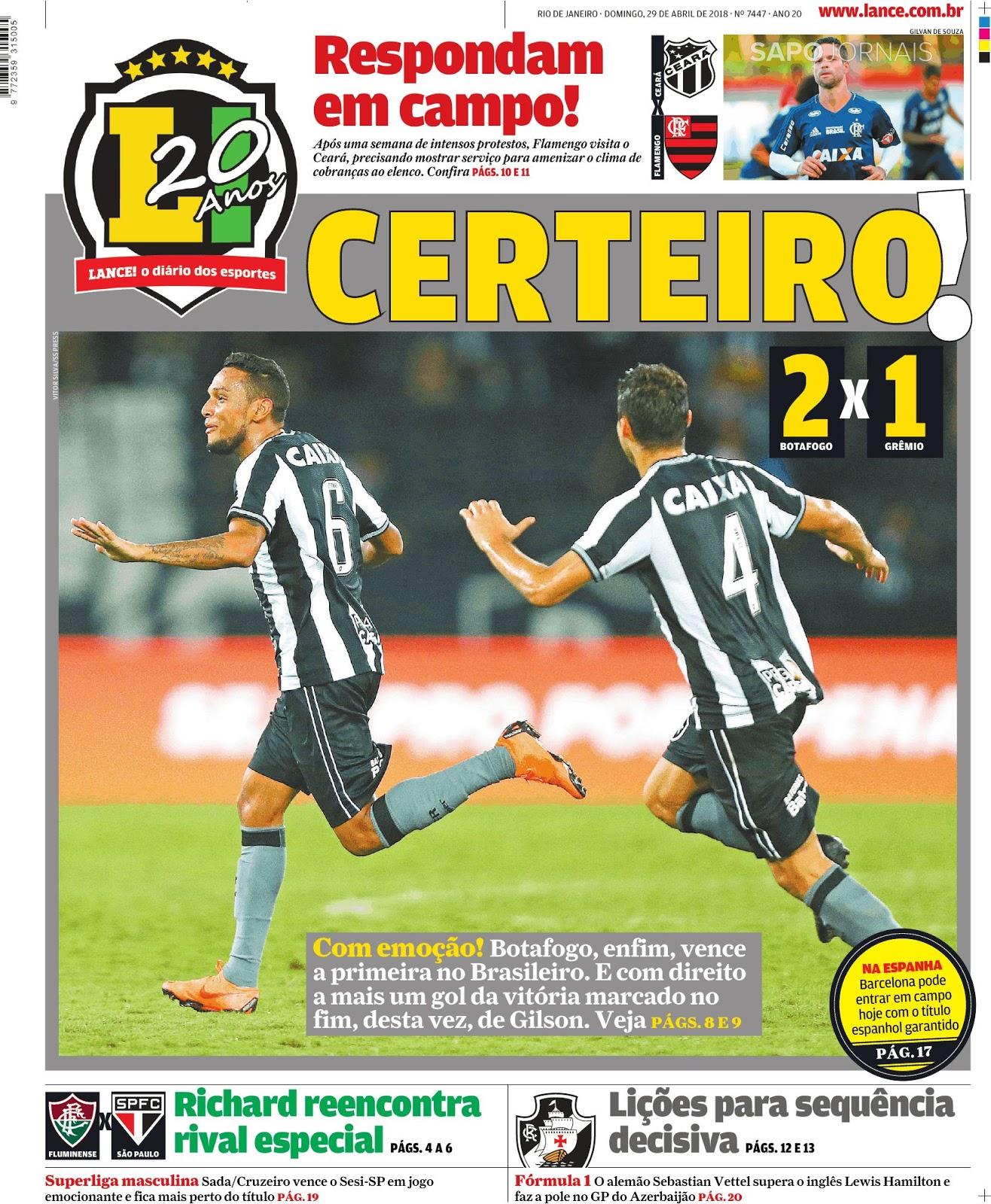 0a3292632259d O Botafogo-RJ conquistou a sua primeira vitória no Campeonato Brasileiro  2018. No Nilton Santos