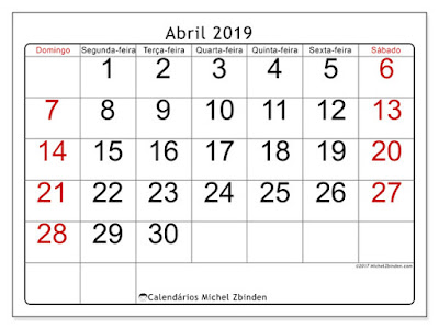 Calendário abril/2019