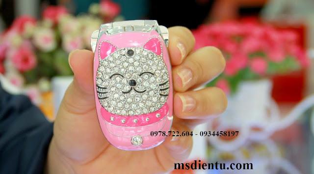 Điện thoại mèo đính đá  N111 màu hồng
