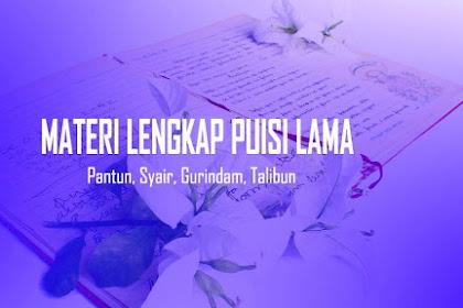 Materi Puisi Lama Lengkap: Pantun, Syair, Gurindam, Talibun