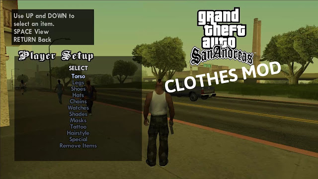 GTA San Andreas Change Clothes Cheat Mod For PC