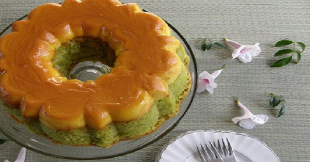 Coconut Pandan Chiffon Flan Bundt Cake Recipe