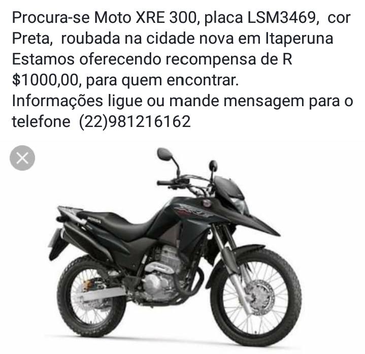 cfdcb37d620 Moto de Lajense roubada em Itaperuna ainda não foi encontrada