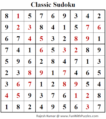 Answer of Classic Sudoku Puzzle (Fun With Sudoku #324)