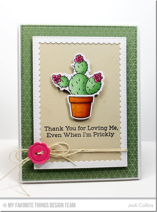 Cactus Card by Jodi Collins featuring the Laina Lamb Design Sweet Succulents stamp set and Die-namics, the Geometric Grid Background stamp, and the Stitched Rectangle Scallop Frames Die-namics #mftstamps