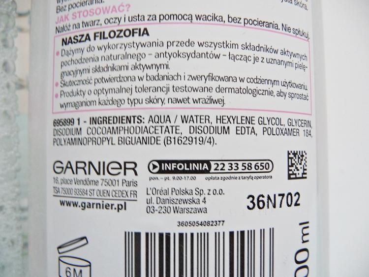 Garnier Płyn Micelarny 3w1 skład