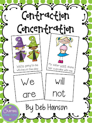 Contraction Concentration Game... FREE! (This version is for lower elementary, but the blog post contains another version designed for upper elementary!)