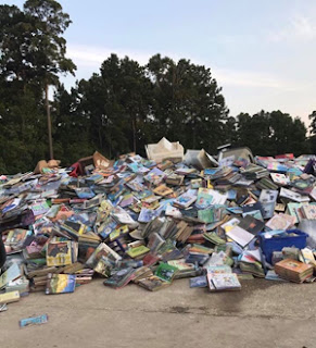 photo of flooded books in pile