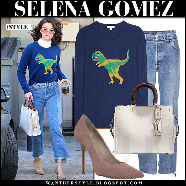 Selena Gomez in blue knit dinosaur sweater coach, raw hem vetements jeans and suede pumps kurt geiger what she wore