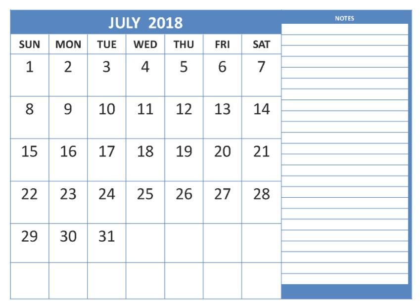 Printable Calendar 2018 Free * July 2018 Printable Calendar Blank