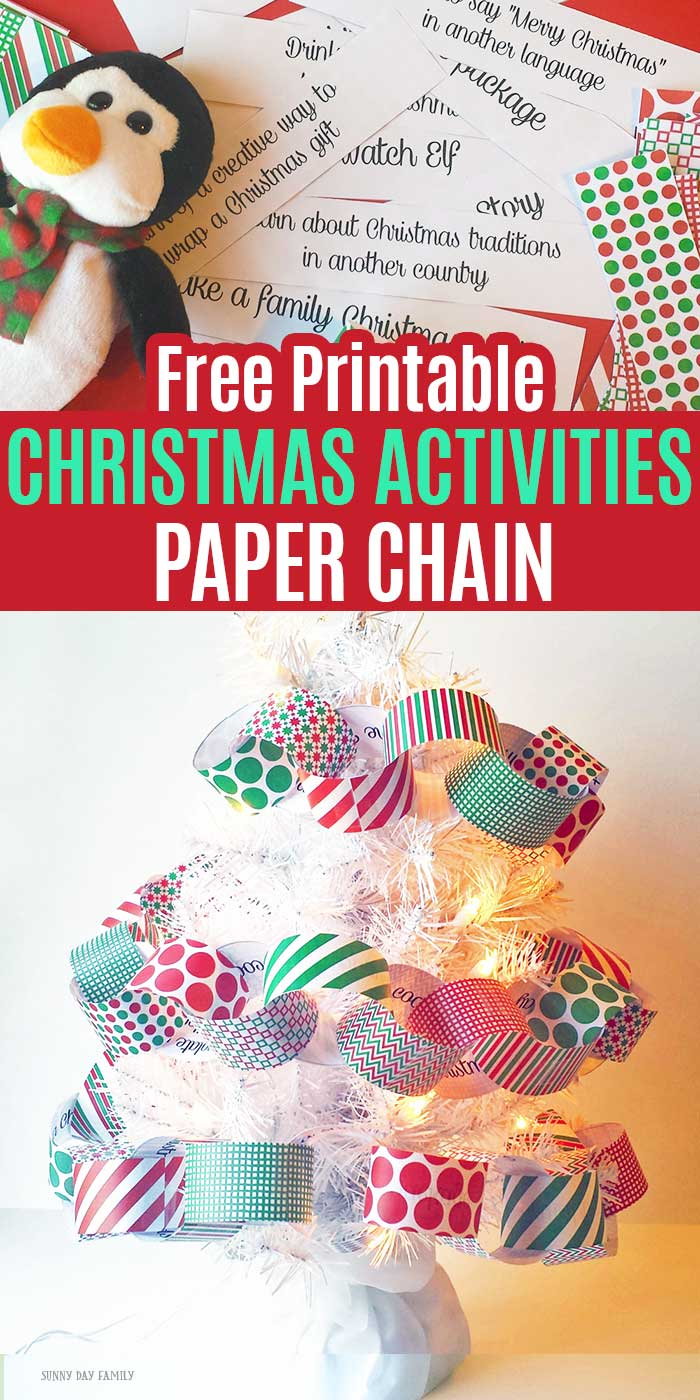 A super cute DIY Christmas paper chain filled with fun Christmas activities for kids! This is a fun way to make a Christmas bucket list and makes a great DIY Christmas garland too. Includes 48 family holiday activities to try! #Christmasforkids #DIYChristmas #Christmasbucketlist #Christmascrafts