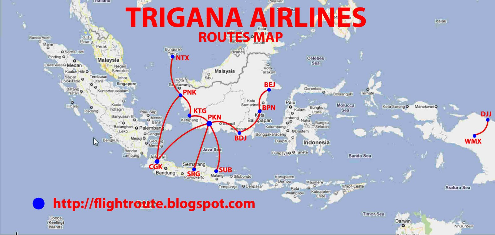 routes map: Trigana Air Routes Map