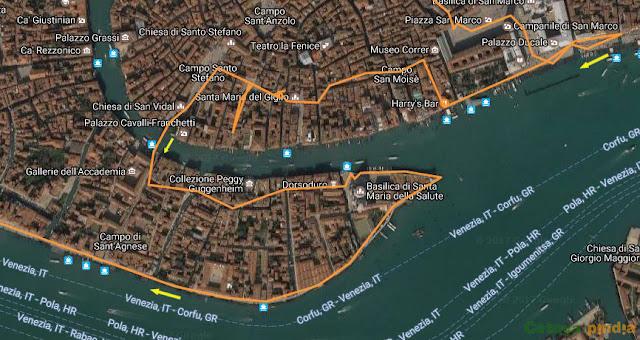 Ruta cirular por Venecia (Italia),pasando por la Plaza de San Macos y regresando a la Plaza de Roma