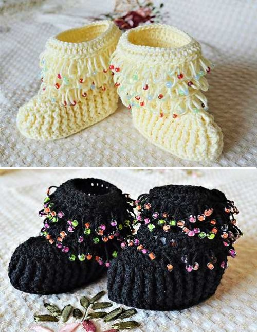 Beaded Baby Booties - Free Pattern