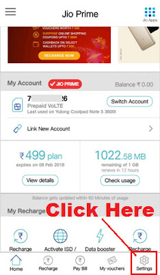 how to delete linked account in my jio app