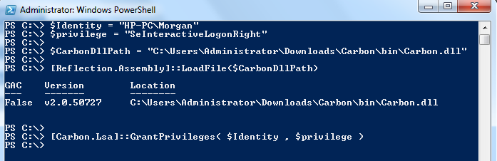 Configure Allow Log On Locally User Rights via Powershell, C# and CMD