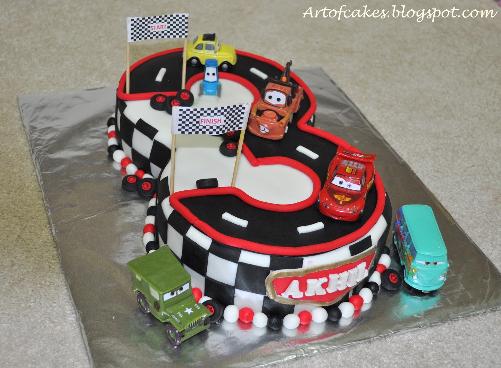 Cake Design Cars Theme : Art Of Cakes: Disney Cars themed number 3 Fondant Cake