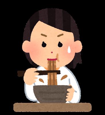 カレーうどんを食べる人のイラスト(女性)