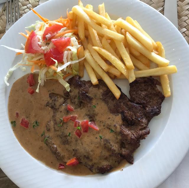 Falaise Rouge, Mauritius, venison steak