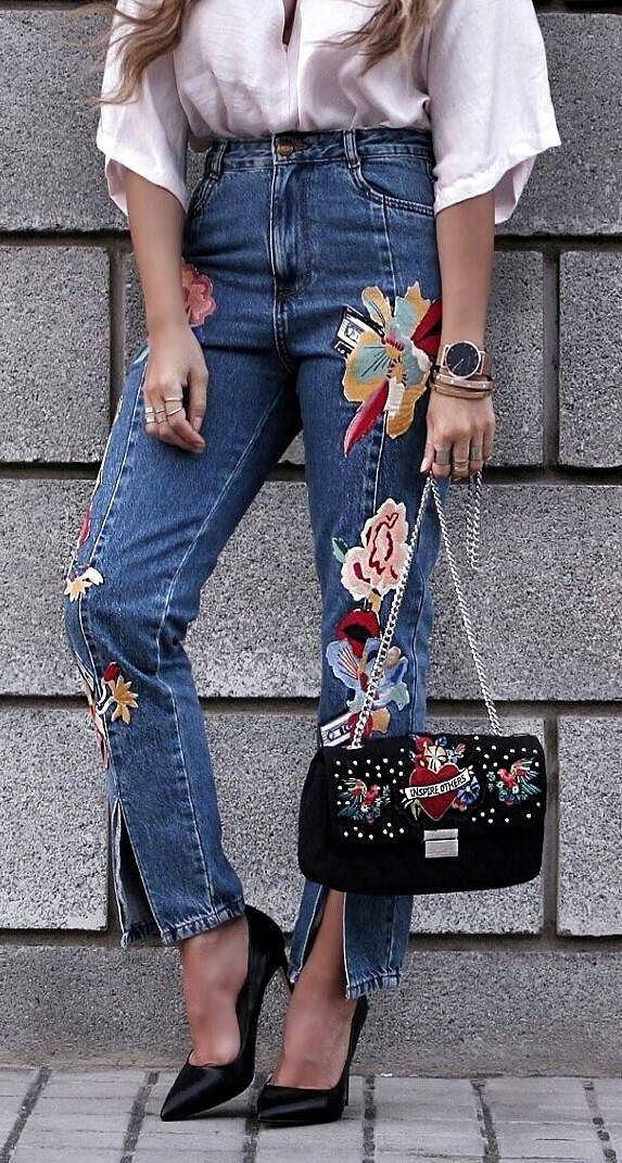 summer ootd: blouse + bag + printed jeans
