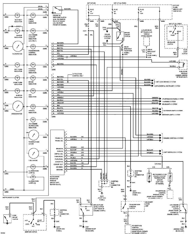 1997 Ford Contour Instrument Cluster Circuit Diagram All