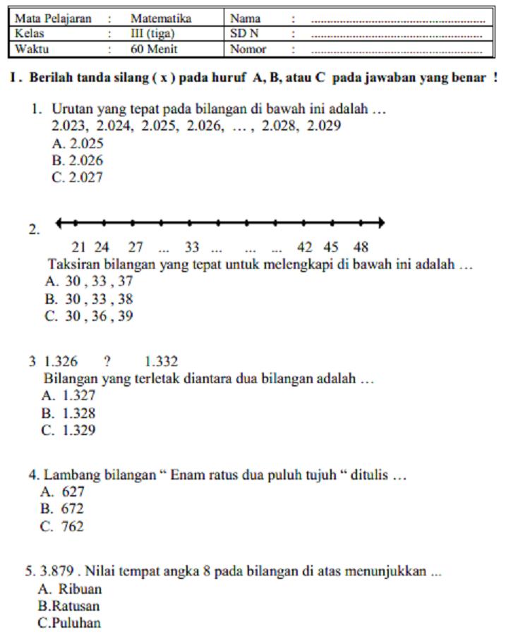 Soal-Soal UAS PKN Kelas 1,2,3,4,5,6 SD Semester 1