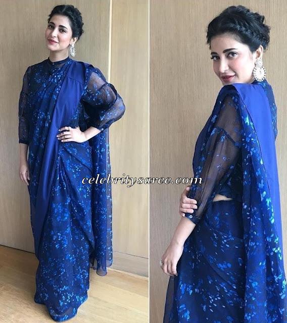 Sruthi Hassan Blue Floral Saree
