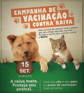 cartaz de CAMPANHA DE VACINAÇÃO CONTRA A RAIVA