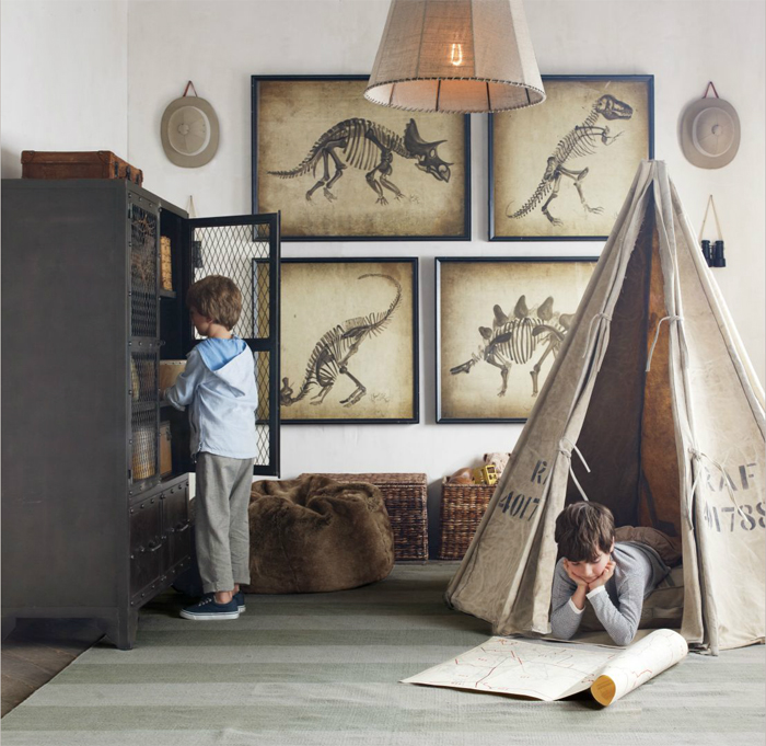 Restoration Hardware  Industrial vibe in children's room