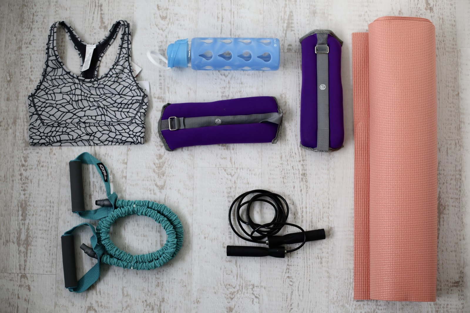 workout gym flatlay