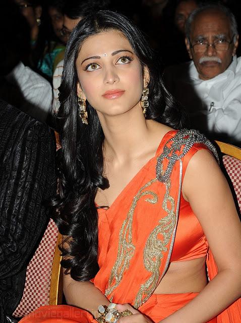 Actress Hot Stills Actress Shruti Hasan Hot Saree Stills-8978