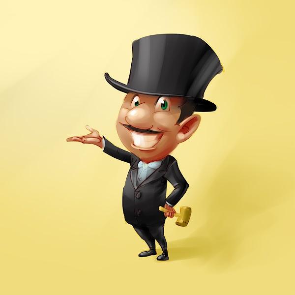 funny professional bidder mascot design concept sketch illustration