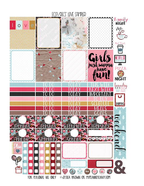 Free Printable Love Sampler for the Vertical Erin Condren and Recollections Creative Year Planner from myplannerenvy.com