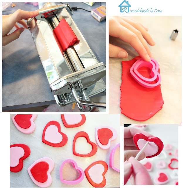 rolling the polymer clay in a pasta machine, cutting the shapes with cookie cutters and poking a little hole