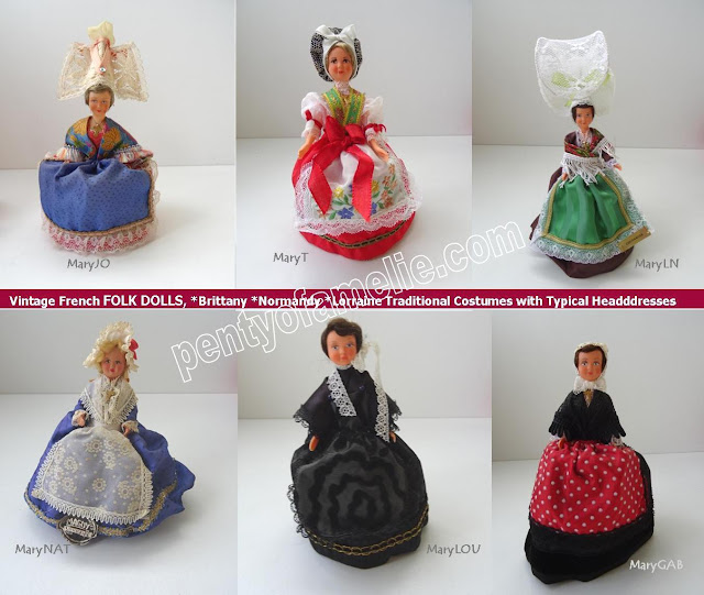 Several Vintage French FOLK DOLLS, Brittany Normandy Lorraine Region wearing Traditional Costumes with Typical Headdresses